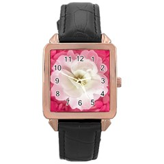 White Rose With Pink Leaves Around  Rose Gold Leather Watch