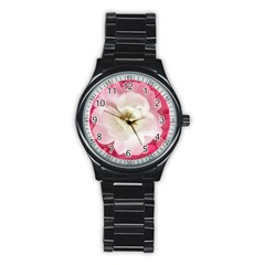 White Rose With Pink Leaves Around  Sport Metal Watch (black)