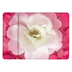 White Rose with Pink Leaves Around  Samsung Galaxy Tab 10.1  P7500 Flip Case