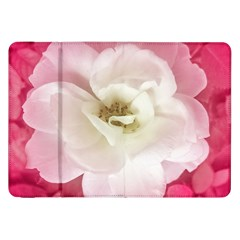 White Rose With Pink Leaves Around  Samsung Galaxy Tab 8 9  P7300 Flip Case