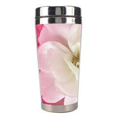 White Rose With Pink Leaves Around  Stainless Steel Travel Tumbler