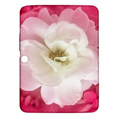 White Rose With Pink Leaves Around  Samsung Galaxy Tab 3 (10 1 ) P5200 Hardshell Case