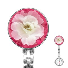 White Rose With Pink Leaves Around  Stainless Steel Nurses Watch
