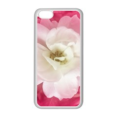 White Rose with Pink Leaves Around  Apple iPhone 5C Seamless Case (White)