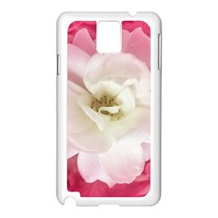 White Rose with Pink Leaves Around  Samsung Galaxy Note 3 N9005 Case (White)
