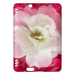 White Rose With Pink Leaves Around  Kindle Fire Hdx Hardshell Case
