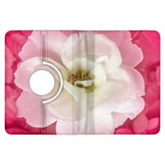 White Rose with Pink Leaves Around  Kindle Fire HDX Flip 360 Case
