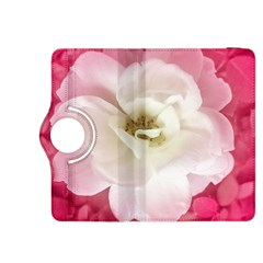 White Rose With Pink Leaves Around  Kindle Fire Hdx 8 9  Flip 360 Case