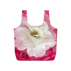 White Rose with Pink Leaves Around  Reusable Bag (S)