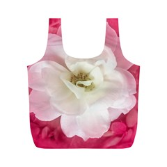 White Rose with Pink Leaves Around  Reusable Bag (M)