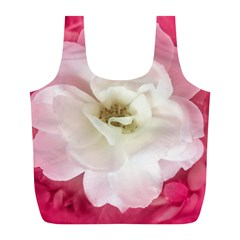White Rose with Pink Leaves Around  Reusable Bag (L)