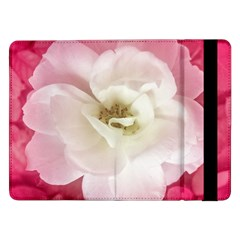 White Rose With Pink Leaves Around  Samsung Galaxy Tab Pro 12 2  Flip Case