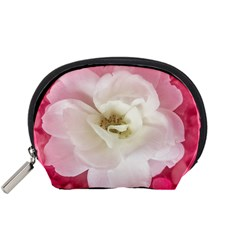 White Rose with Pink Leaves Around  Accessory Pouch (Small)