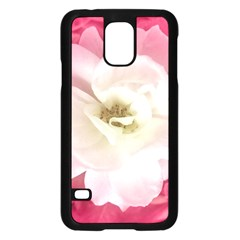 White Rose with Pink Leaves Around  Samsung Galaxy S5 Case (Black)