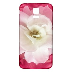 White Rose With Pink Leaves Around  Samsung Galaxy S5 Back Case (white)