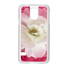 White Rose with Pink Leaves Around  Samsung Galaxy S5 Case (White)