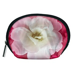 White Rose with Pink Leaves Around  Accessory Pouch (Medium)