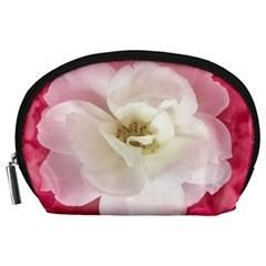 White Rose with Pink Leaves Around  Accessory Pouch (Large)
