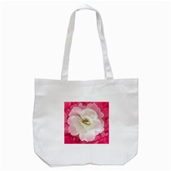 White Rose with Pink Leaves Around  Tote Bag (White)