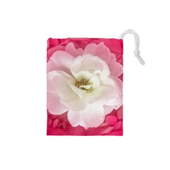 White Rose with Pink Leaves Around  Drawstring Pouch (Small)