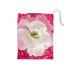 White Rose with Pink Leaves Around  Drawstring Pouch (Medium)