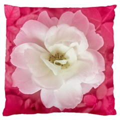 White Rose with Pink Leaves Around  Large Flano Cushion Case (Two Sides)