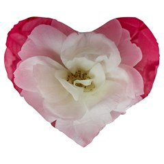 White Rose With Pink Leaves Around  19  Premium Flano Heart Shape Cushion