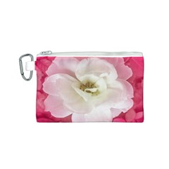White Rose with Pink Leaves Around  Canvas Cosmetic Bag (Small)