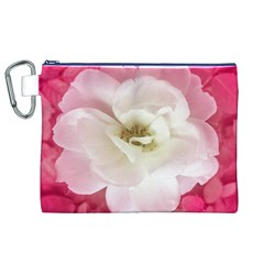 White Rose With Pink Leaves Around  Canvas Cosmetic Bag (xl)
