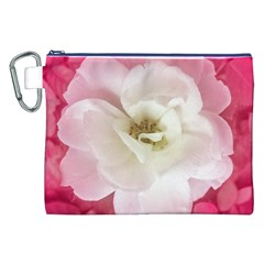 White Rose with Pink Leaves Around  Canvas Cosmetic Bag (XXL)