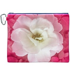 White Rose with Pink Leaves Around  Canvas Cosmetic Bag (XXXL)