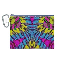 Crazy Zebra Print  Canvas Cosmetic Bag (Large)