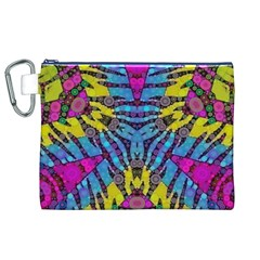 Crazy Zebra Print  Canvas Cosmetic Bag (XL)