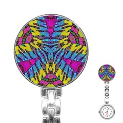 Crazy Zebra Print  Stainless Steel Nurses Watch