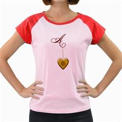 A Golden Rose Heart Locket Women s Cap Sleeve T Shirt