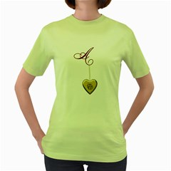 A Golden Rose Heart Locket Women s Green T-Shirt