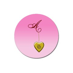A Golden Rose Heart Locket Magnet 3  (round)