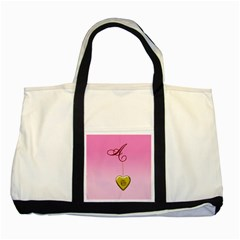A Golden Rose Heart Locket Two Tone Tote Bag
