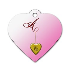 A Golden Rose Heart Locket Dog Tag Heart (two Sides)