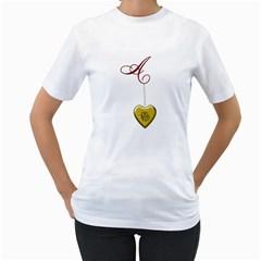 A Golden Rose Heart Locket Women s T Shirt (white)