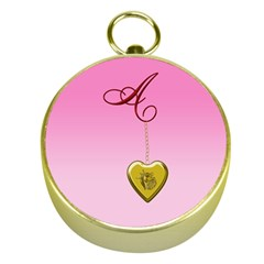 A Golden Rose Heart Locket Gold Compass