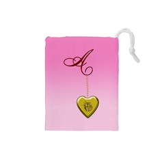 A Golden Rose Heart Locket Drawstring Pouch (small)