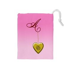 A Golden Rose Heart Locket Drawstring Pouch (Medium)