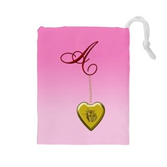 A Golden Rose Heart Locket Drawstring Pouch (large)