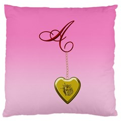A Golden Rose Heart Locket Large Flano Cushion Case (One Side)
