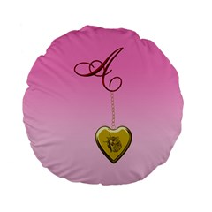 A Golden Rose Heart Locket 15  Premium Flano Round Cushion