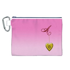 A Golden Rose Heart Locket Canvas Cosmetic Bag (Large)