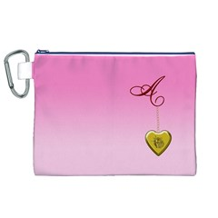 A Golden Rose Heart Locket Canvas Cosmetic Bag (XL)