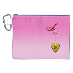 A Golden Rose Heart Locket Canvas Cosmetic Bag (XXL)