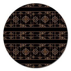 Dark Geometric Abstract Pattern Magnet 5  (round)